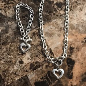 Faux Tiffany charm necklace and matching bracelet
